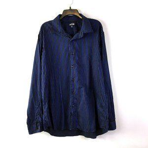 Apt 9 Mens Blue Black Striped Button Front Shirt